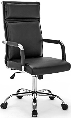 Office Chair Modern Conference Chair Executive Swivel PU Leather Ergonomic Design Computer Desk Chair Highback (Black) (Breeze Chair Highback)