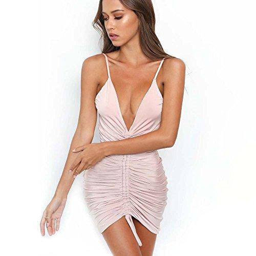 Noche Cuello De MeiZiZi V Pink Puro Vestido En Vestido Casual Con Color Meizizivestido De Vestido qttxIvUnwr