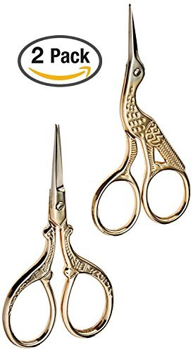 TWO High Quality 3.5 Inch Gold Plated Stainless Steel Scissors for Embroidery, Sewing, Craft, Art Work & Everyday Use - Ideal as a Gift