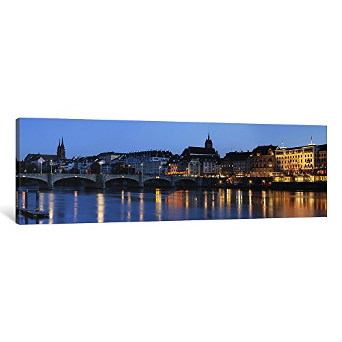 iCanvasART 1 Piece Bridge Across a River with a cathedral in The background, Mittlere Rheinbrucke, St. Martin's Church, River Rhine, Basel, Switzerland Canvas Print by Panoramic Images, 36 x 12