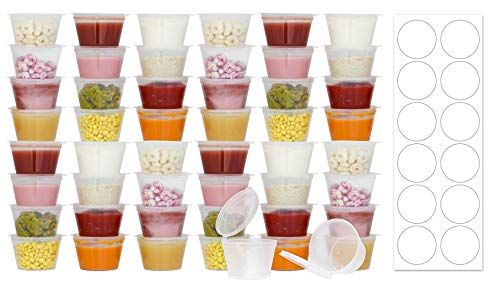 50 Pack BPA-Free Baby Food Freezer Storage Containers Hinged Lids (3 oz) Labels | Leak-Proof | Travel Snack Cups | Store Homemade, Organic Purees | Freezer Dishwasher Safe (Baby Food Storage 4 Oz)