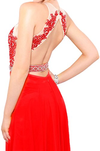 ivyd ressing Mujer sueño antiadherente a de línea piedras perlas rueckenfrei Fiesta Vestido Prom vestido fijo para vestido de noche Rojo
