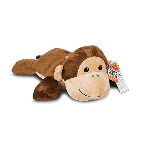 Melissa & Doug Cuddle Monkey Jumbo Plush Stuffed Animal (Pillow Toy, Reusable Activity Card, Nametag, Over 2 Feet Long)