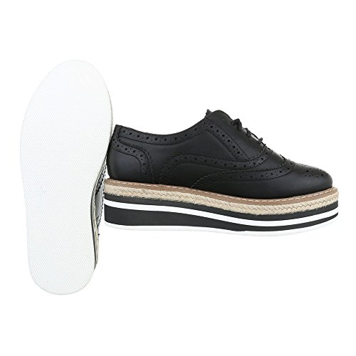 WoMen Flats Black Lace Ital Design Up 61wxq5ZR