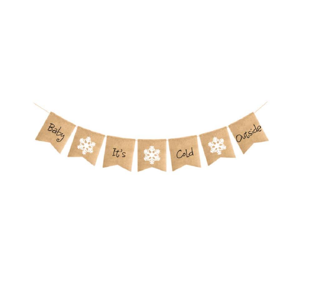 クリスマスバナー 赤ちゃん 「It's Cold Outside Printed Bunting Banner クリスマスツリーガーランド ホリデー バンティング ホームガーデン 屋内 屋外 バナー クリスマス ホームパーティー デコレーション   B07K7L28S7