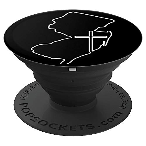 New Jersey with Cross - Religious Art on Black PDTF581b - PopSockets Grip and Stand for Phones and Tablets (Religious Jerseys)