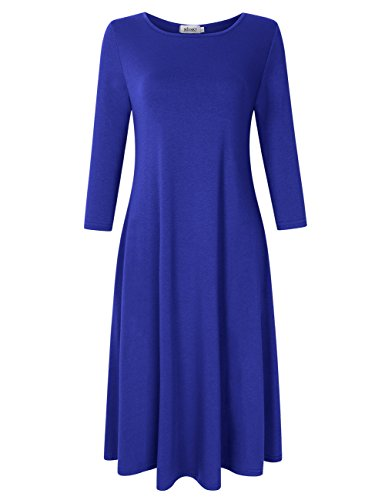 MISSKY Women's Scoop Neck 3/4 Long Sleeve Midi Dress Loose Swing Casual Dress with Pockets (XXXL, Royal ()