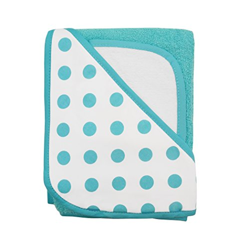 American Baby Company Cotton Terry Hooded Towel Set, Aqua Dot, for Boys and Girls