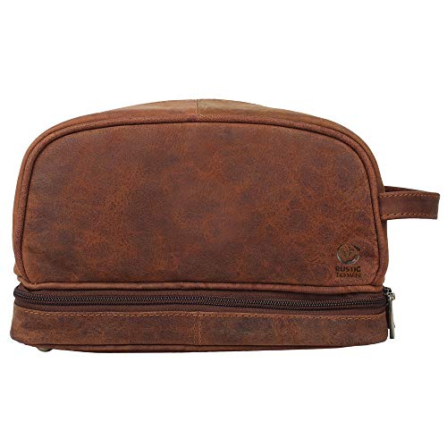 Genuine Leather Travel Cosmetic Bag – Hygiene Organizer Dopp Kit By Rustic Town