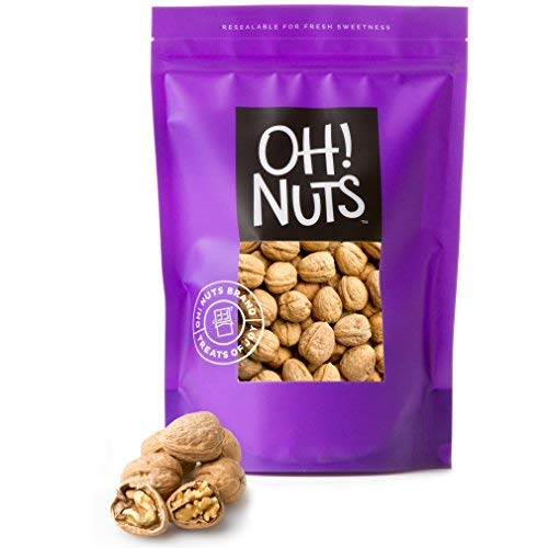 Walnut in Shell Large Fresh, Jumbo Californian Raw Walnuts in Shells - 4 LB Bag - Oh! - Giant Bird Glass Brain