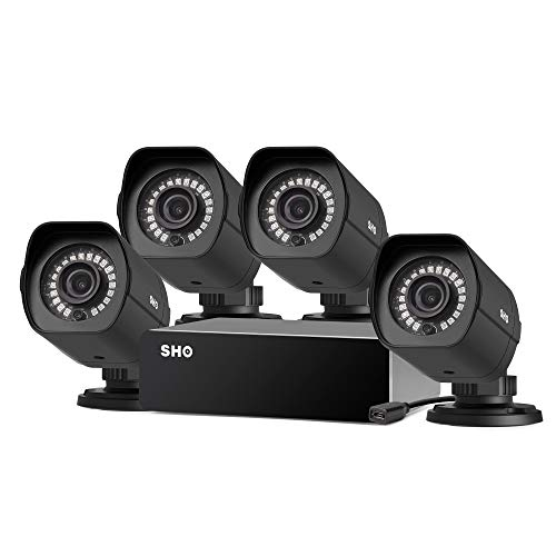SHO Full HD 1080p 8 Channel Repeater Outdoor sPoE Security Camera System 4 X 2MP IP Wired Security Camera, Remote Monitoring, (NVR not Included)-[Free 6-Month Cloud Service for Recording]