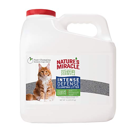 Nature's Miracle P-98135 Intense Defense Clumping Litter, 14 Pounds, Jug, Super Absorbent Fast-Clumping Formula, Dust Free