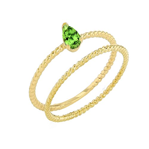 Dainty 14k Yellow Gold Peridot Pear-Shaped Comtemporary Engagement Rope Ring Set (Size 4.25)