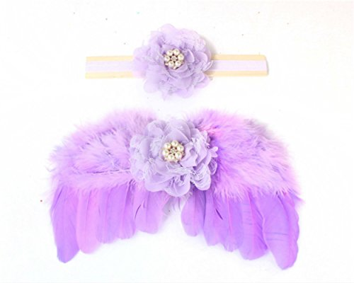 Angel Legend Newborn Baby Toddler Infant Feather Angel Wings With Hair Band,Photo Booth Props Costume,Photography Shoots Props,Baby Shower (Lilac Angel Toddler Costume)