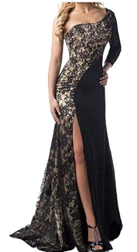Jaycargogo Femmes Sexy Une Épaule À Manches Longues Coutures En Dentelle Fendu Mince Robes Clubwear Noir