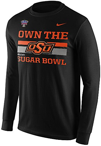 Rugby Collegiate Stripe Shirt - Nike Oklahoma State Cowboys OSU Own the Sugar Bowl Bound Long Sleeve T-Shirt (Black, Large)