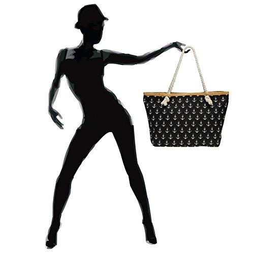 Negro Xl Mujer Playa Con De Para Ts1022 bolso Bolso Dibujo Caspar Ancla Mano Grande Hombro qB65x