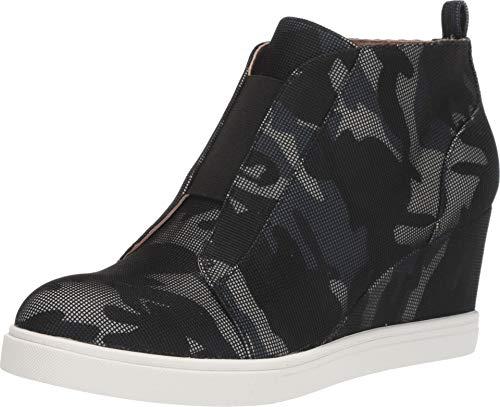Felicia | Our Original Platform Wedge Sneaker Bootie in Blue/Black/Grey Camo Net Fabric 10M