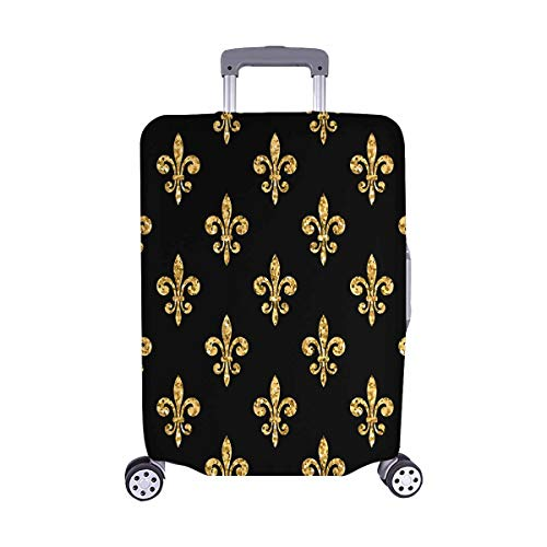 Fleur De Lis Luggage (InterestPrint Fleur De Lis Floral Classic Travel Luggage Cover Suitcase Baggage Protector Fits 22