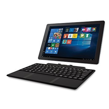 "2018 RCA Cambio 2-in-1 10.1"" Touchscreen Tablet PC, Intel Quad-Core Processor, 2GB RAM, 32GB SSD, Detachable Keyboard, Webcam, WIFI, Bluetooth, Windows 10, Black"