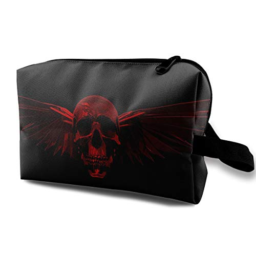 Lovesofun Cool Skull with Wings Portable Travel Storage Bags Luggage Cosmetic Packing Bag with Zipper for Travel Cubes Set for Travel ()