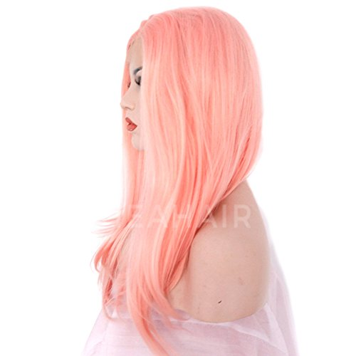 Heahair Fashion Affortable New Style Pink Color Handtied Synthetic Lace front Wig for Cosplay(Pale pink) by Heahair (Image #6)