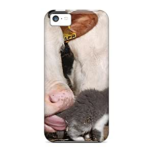 EOVE Iphone 5c Hybrid Tpu Case Cover Silicon Bumper Cow Licking Kitty W