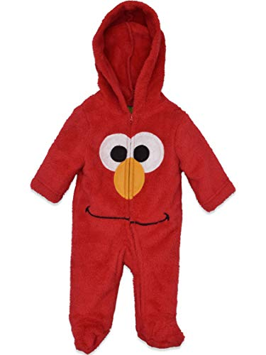 Sesame Street Elmo Newborn Baby Boys' Zip-Up Hooded Costume Coverall with Footies, 0-3M -