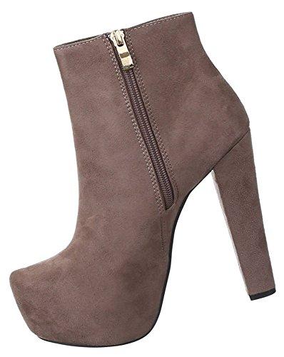 Damen Stiefeletten Schuhe High Heels Plateau Schwarz Braun 36 37 38 39 40 41 Hellbraun
