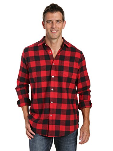 Noble Mount Mens 100% Cotton Flannel Shirt - Gingham Checks-Black-Red - L ()