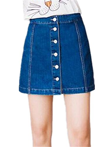 linea Casual Alta Gonna A Con Di Vita Donne Popolare Bonitas Besthoo Pulsante Blue Gonne Jeans fwXAq4