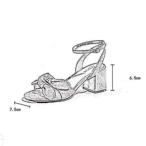 Taille C C couleur Cn36 Couleur Femmes Eu36 De D'un Pure Chaussures La Boucle Bouton Épais Ouvert Zhirong Avec Confortable D'été Bout Sandales Pour Uk4 aqHZ4H