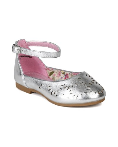 Little Angel AI97 Leatherette Perforated Ankle Strap Ballet Flat Sandal (Toddler/ Little Girl) - Silver (Size: Toddler 6) Lola Ankle Strap Sandals