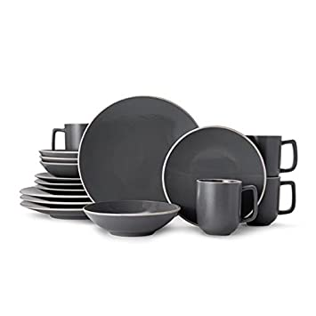 Mikasa Leah Charcoal Stoneware Dinnerware Set for 4 - Case of 16  sc 1 st  Amazon.com : charcoal dinnerware - pezcame.com