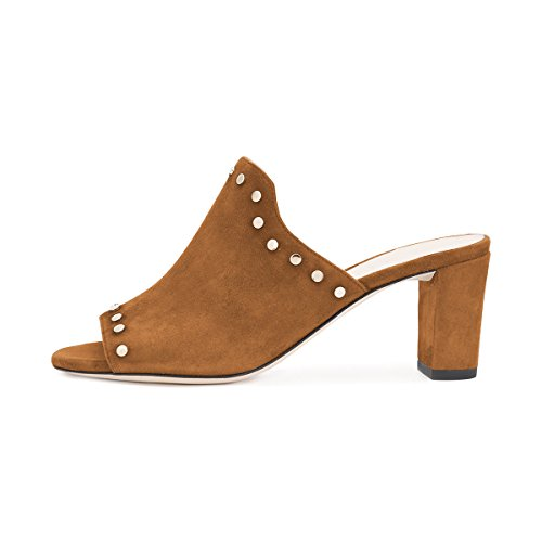 YDN Women Casual Mid Chunky Heel Mules Peep Toe Slip On Pumps Studded Slide Shoes Brown nicekicks online cheap sale great deals SoXFd43C36
