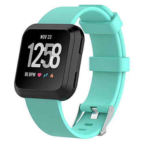 Replacement Silicone Watch Wrist Sports Band Strap for Fitbit Versa Wristband (Aqua, L)