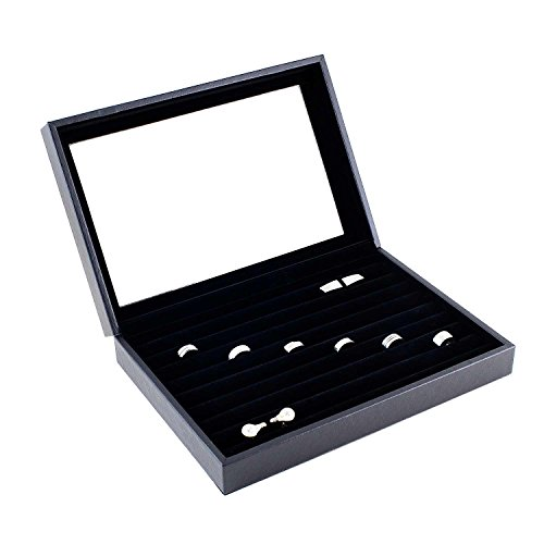 Display Jewelry Belly (Caddy Bay Collection Black Jewelry Ring Cuff Links Case Display Storage Box with Glass Top)