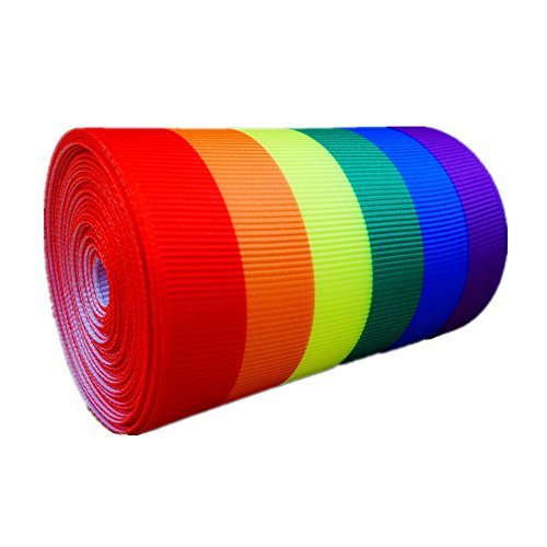 Single Face LGBT Rainbow Stripes Printed 3 Inch White Grosgrain Ribbon Gay Pride Cheer 5 Yards