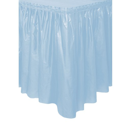 Baby Blue Plastic Table Skirt, 29