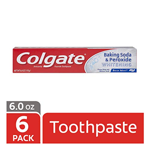 Colgate Baking Soda and Peroxide Whitening Toothpaste, Brisk Mint - 6 ounce (6 Pack)