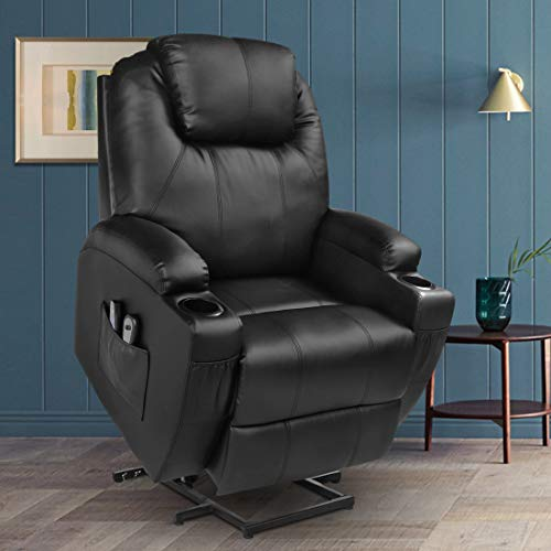 MAGIC UNION Power Lift Massage Recliner Faux leather Heated Vibration with Remote Controls Wheels for Elderly Catnap Sofa- Black (Best Leather Recliner For The Money)