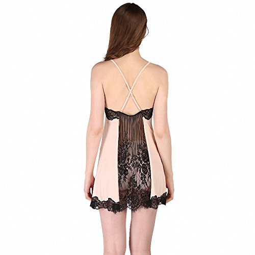 Sexy Women Nightgown Lace Back Harness Hollow Lace Women Sleepwear Quality Faux Silk Lounge at Amazon Womens Clothing store:
