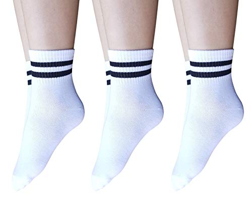 (AM Landen Super Cute 3 pairs White with Two Black Stripes Women's Unisex Striped Ankle Socks Crew Socks)