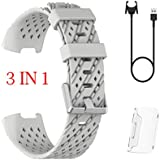 AutumnFall 3 in 1 Silicone watchband Replacement Watch Wrist Strap Band +Screen Protection Sticker+Charger for Fitbit Charge 3 (Gray)