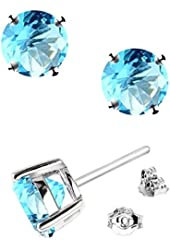 .925 Sterling Silver Round 2 Carat Total Weight Stud Earrings