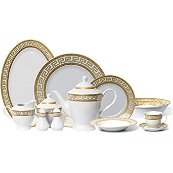 EURO Porcelain 57-Piece Large Dinner Banquet Set 24K Gold-Plated Tableware Dinnerware  sc 1 st  Amazon.com & Amazon.com | EURO Porcelain 57-Piece Large Dinner Banquet Set 24K ...