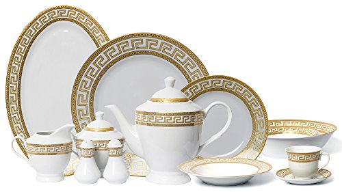 (Euro Porcelain 57-pc Banquet Dinnerware Set for 8, Luxury Bone China)