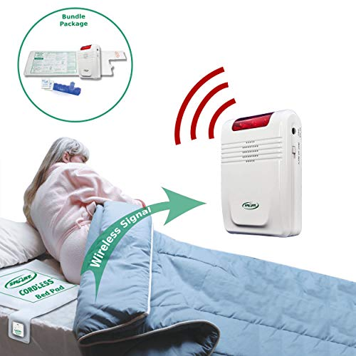 """Smart Caregiver Wireless Bed Alarm System - Cordless Weight Sensing Bed Alarm Pad (10"""" x 30"""") with Remote Alert Monitor, 10 Individual Cleaning Wipes and Liberty 7 Day Pill Box"""