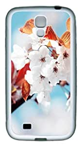 Samsung Galaxy I9500 Cases & Covers -Cherry Flowers TPU Silicone Rubber Case Cover for Samsung Galaxy S4 and Samsung Galaxy I9500 White