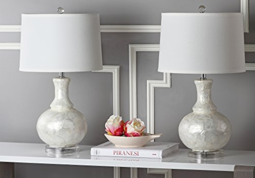 Safavieh Lighting Collection Shelley Gourd White 24.75-inch Table Lamp (Set of 2) (White Shimmer Lamp Shade)